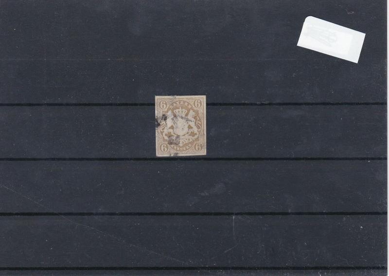 Barvaria 1867 Imerf 6K Brown Used Stamp CAT£75 Ref: R7496