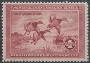 #RW2 VF OG NH 1935 DUCK STAMP CV $700 HV9724
