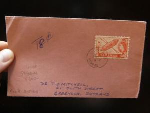 Sarawak QE 8c Sebauh 1964 cover Taxed 8c to Scotland (10bey)