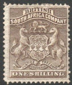 RHODESIA-1892-93 1/- Grey-Brown Sg 4 MOUNTED MINT V37844
