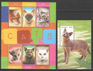 Z0167 GUYANA FAUNA PETS CATS 1KB+1BL MNH
