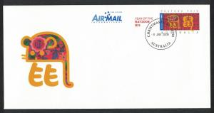 Christmas Is. Chinese New Year 'Year of the Rat' Pre-paid Envelope FDC