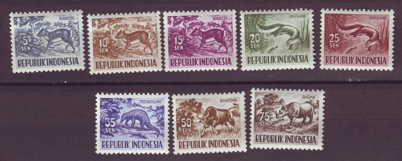 J25016 JLstamps 1956 indonesia set mnh #424-31 animals