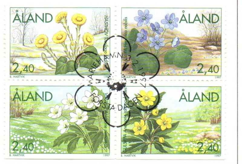 Aland Finland Sc 130-33 1997 Spring Flowers stamp set used