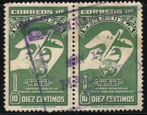 Venezuela Air Mail UPU 1950 Scott# C285 Used pair