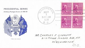 #808 Prexie FDC, 4c James Madison, Grimsland cachet, block of 4