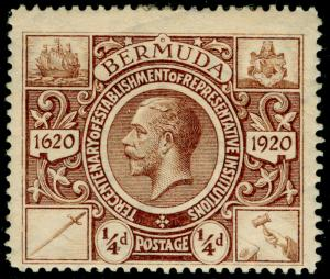 BERMUDA SG74, ¼d brown, M MINT.