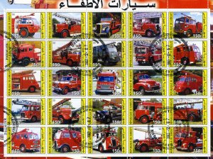 FIRE ENGINES Sheet (25) stamps Perforated Fine used VF #2