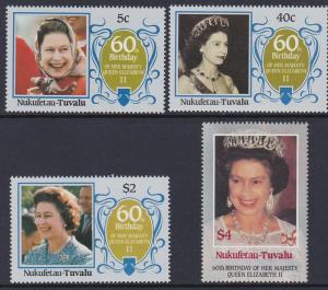 Tuvalu Nukufetau 1986 QEII Scott (51-54) MNH
