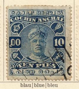 Cochin 1918-22 Early Issue Fine Used 10p. 322442