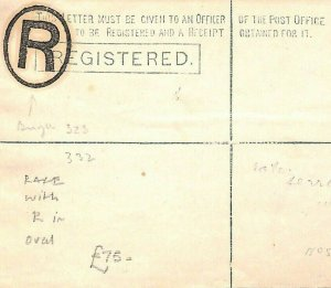 GB STATIONERY RARITY Pre-Cancel *R*Postmark UNUSED Registered Cover 1880s MS2137