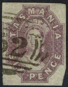 TASMANIA 1860 QV CHALON 6D REDDISH MAUVE IMPERF USED