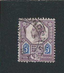 GB-QV 1887-92 5d DULL PURPLE & BLUE DIE 1 FU PART CDS SG 207 CAT £120
