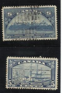 Canada 202, 204 5c, 5c Used  VF See Scan for Cancel, Centering, Perfs