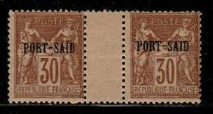 French Offices in Port Said Scott 10 Mint hinged gutter pair (CV $40.00)