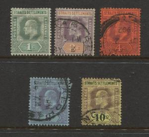Straits Settlements #92-98 KEVII M/U 1902 Wmk 2  CV$8.00.