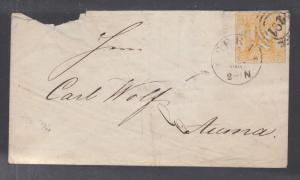 Thurn & Taxis Sc 29 on 1867 cover, Gera to Auma, CDS, 3 ring target with 291