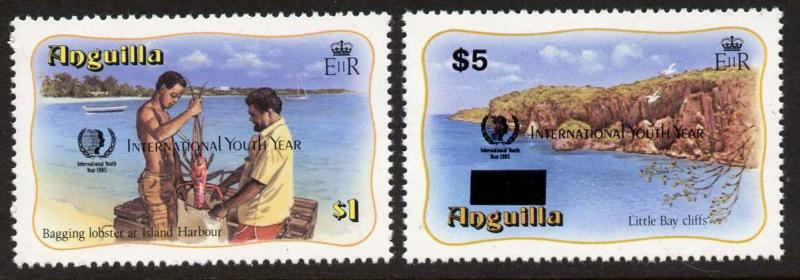 Anguilla 646-7 MNH Lobster, International Youth Year o/p, Birds