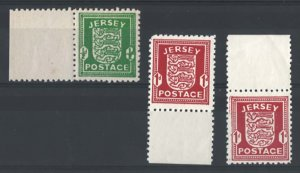 Jersey 1941 Arms ½d unmounted mint marginal with r/h value blurred (over ink...