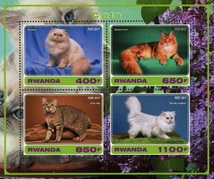 Cat Animal Persian Maine Coon Souvenir Sheet of 4 Stamps Mint NH