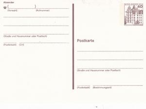 West Berlin 40pfg Prepaid Postcard Unused VGC