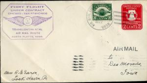#C4 ON IST FLIGHT AIRMAIL ROUTE NO. PLATTE, NEBRASKA COVER BN5874