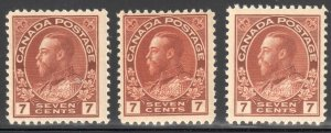 Canada VF NH #114- 114b, ii, iii, iv, v (All Stamps in perfect condition)