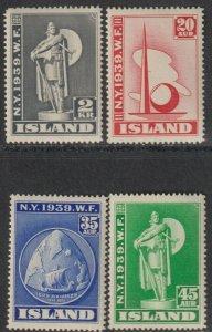 Sc# 213 / 216 Iceland 1939 New York World's Fair full MNH set CV $110.00 St# 2