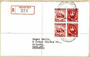 PAPUA NEW GUINEA..1950 Registered cover with Australian stamps. MILNE BAY