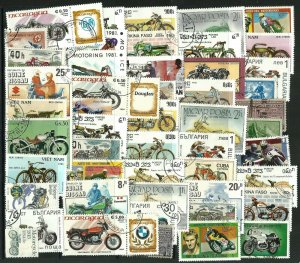 25 MOTORBIKE  THEMED STAMPS OFF PAPER - ALL DIFFERENT