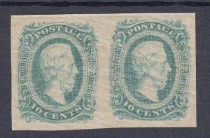 Confederate States Sc 11d, MNH. 1863-64 10c green Jefferson Davis, horiz pair,VF