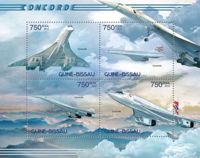 Guinea Bissau - Concorde Airplanes - 4 Stamp Sheet - GB12611a
