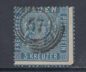 Baden Sc 12 used 1861 3kr ultra Coat of Arms, 57 in Target Cancel