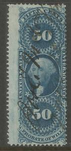 UNITED STATES  R62C  USED,  PERFED,  PROBATE OF WILL,  REVENUE STAMP