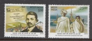 India 2015  # 2713-2714   Return Of Mahatma Gandhi To India  2v  MNH   02453