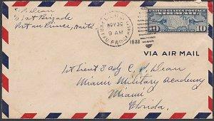 USA 1933 10c airmail cover ex US Marine Corp HAITI - Port Au Prince duplex..K680