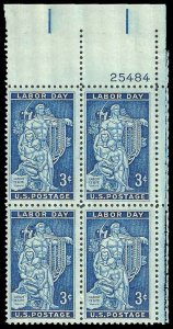 PCBstamps  US #1082 PB 12c(4x3c)Labor Day, 1956, MNH, (2)