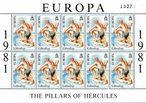 Gibralter 1981 Europa Sheets of Ten Scott 400-401 Pillars of Hercules VF/NH/(**)