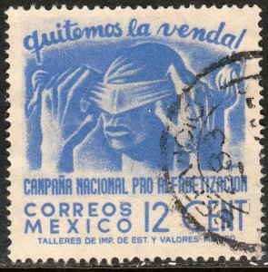 MEXICO 808, 12cents Blindfold, Literacy Campaign Used VF, (843)