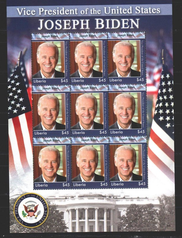 Liberia. 2008. Small sheet 5405. US Vice President Biden. MNH.