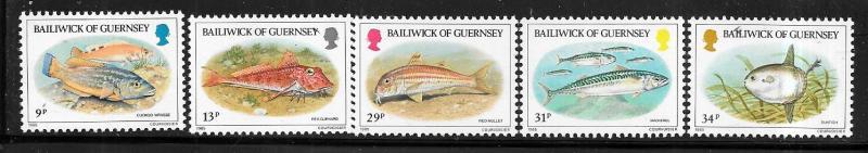 Guernsey MNH 308-12 Indigenous Fish 1985