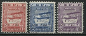 South Africa 1925 Airmails 1d, 3d, and 6d mint o.g. hinged