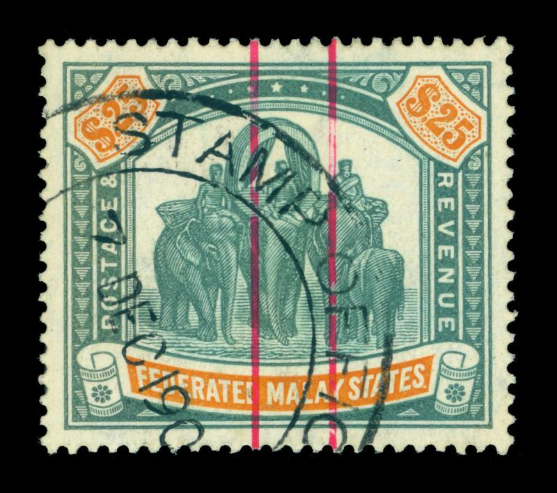 MALAYA MALAYSIA 1909 ELEPHANT $25 dark green WMK MULTI CROWN CA USED STAMP