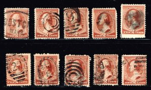US STAMP #210 – 1883 2c Washington, red brown USED FANCY CANCEL STAMPS LOT