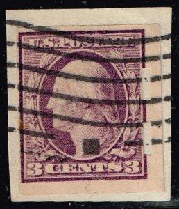 US STAMP #345 3c Violet 1908 Schermack MACHINE PERF USED STAMP ON PAPER