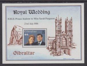 Gibraltar 498 Royal Wedding Souvenir Sheet MNH VF