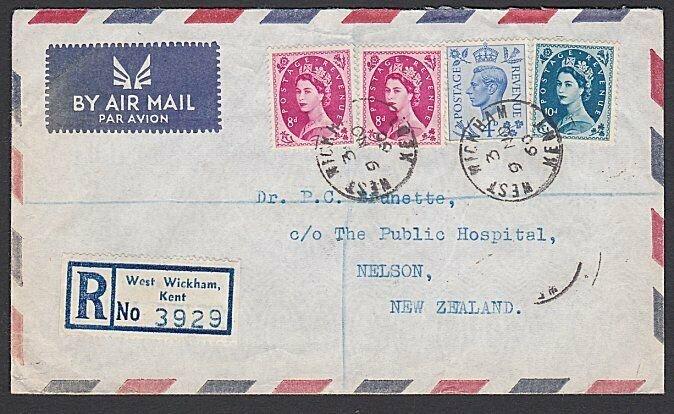 GB 1960 Reg airmail cover to NZ - mixed franking inc QE 8d & 10d............J373