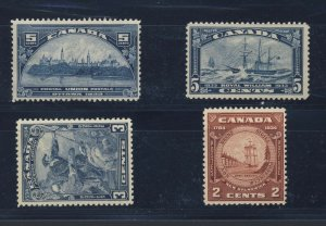 4x Canada Stamps #202-MNG #204-MH #208-MNH #210-MNH Guide Value = $42.00