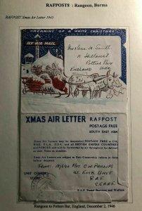 1945 Rangoon Burma RAFPOST Xmas Air Letter Cover To Potters Bar England