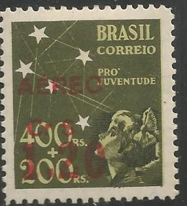 BRAZIL  C59   MNH, NO B10 SURCHARGED IN RED, CARMINE OR BLACK